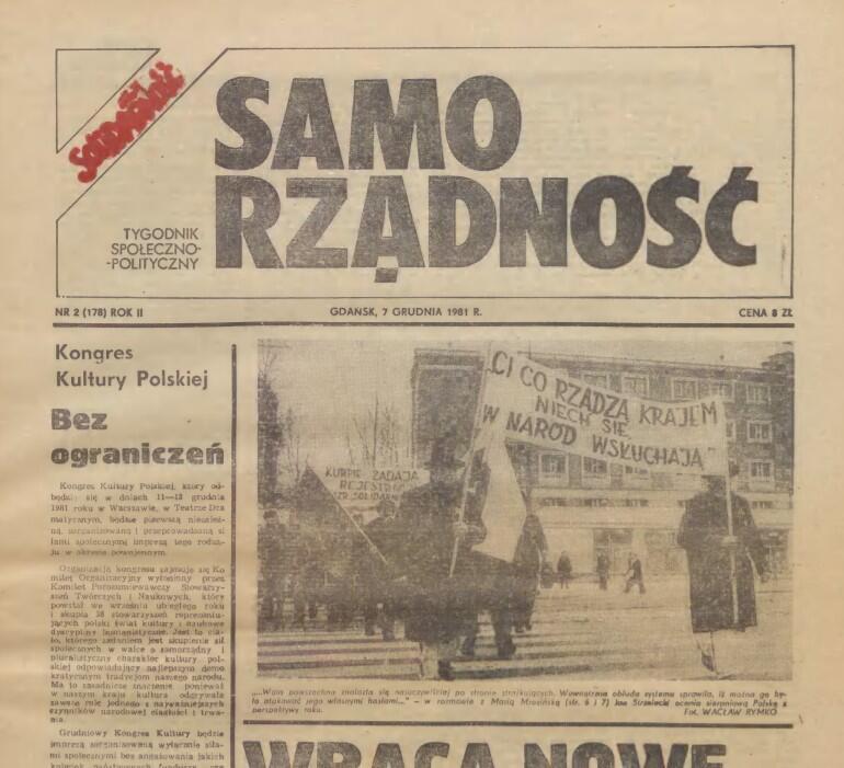 Tygodnik Samorządność - strona tytułowa wydawanego w Gdańsku pisma, którego redaktorem naczelnym był Lech Bądkowski. Do wprowadzenia stanu wojennego ukazały się zaledwie trzy numery
