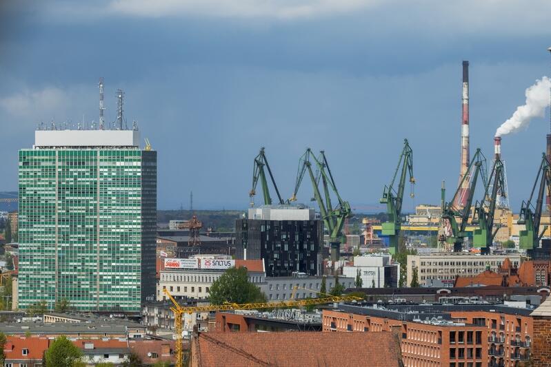 Widok w kierunku Młodego Miasta z perspektywy Nowego Ratusza w Gdańsku