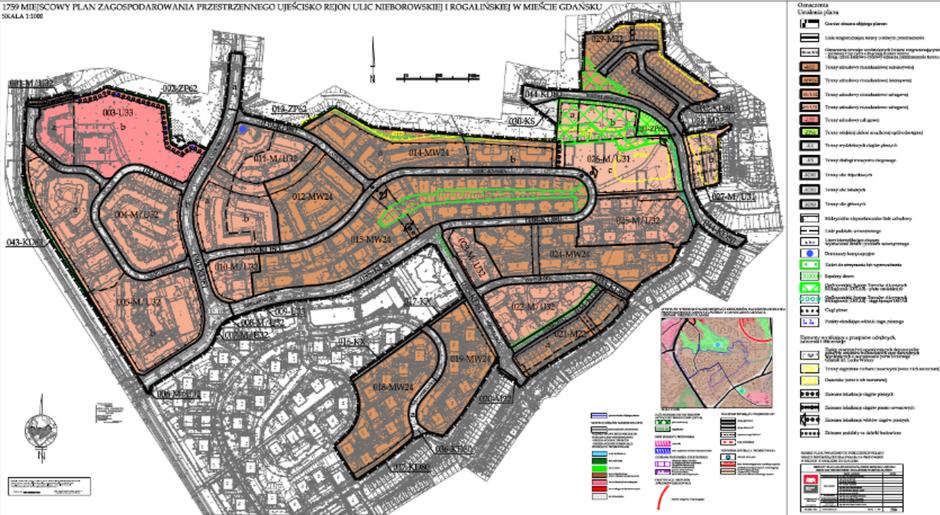 Rysunek uchwalonego planu Ujeścisko rejon ulic Nieborowskiej i Rogalińskiej