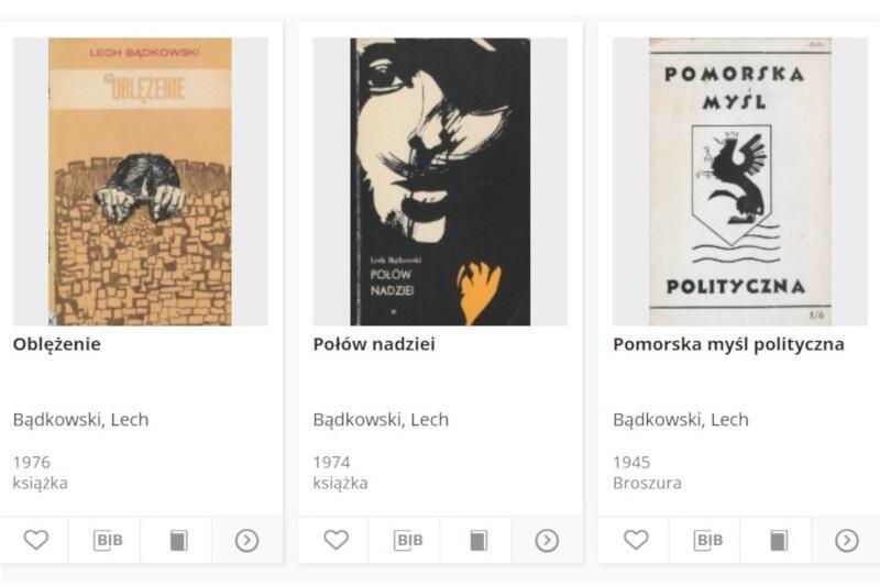 W kolekcji poświęconej Lechowi Bądkowskiemu znajdziemy póki co kilka jego pozycji książkowych oraz skany czasopism i broszury. Wkrótce można spodziewać się kolejnych materiałów