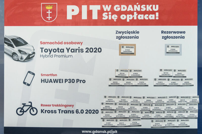 Tak wygląda tablica z numerami i kodami osób, które pomogły szczęściu i zostały wylosowane w tegorocznej loterii Pit w Gdańsku! Się opłaca