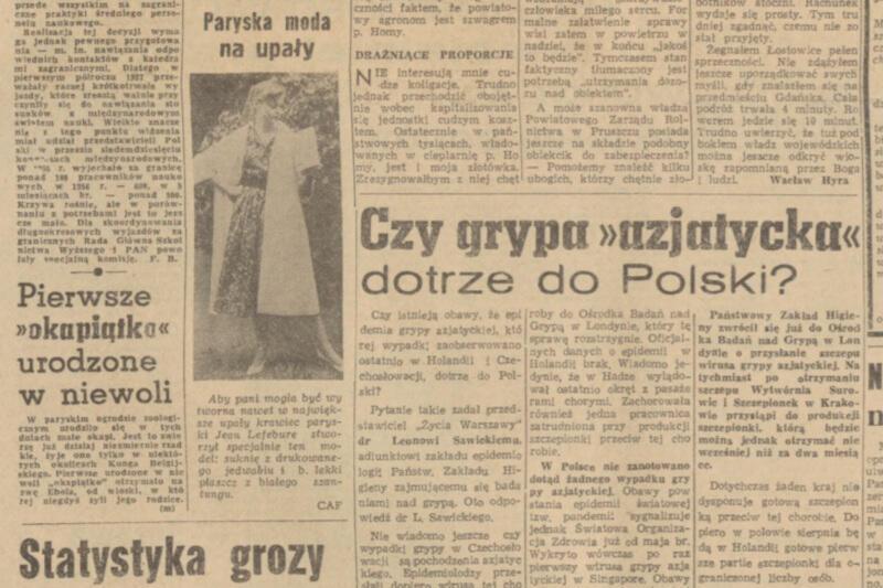 Wirus grypy, moda na lato i młode okapi. Tym żyli Polacy w pierwszej połowie lipca 1957 roku. KLIKNIJ W ZDJĘCIE, ŻEBY POWIĘKSZYĆ