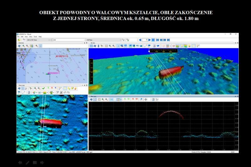 Mina została wykryta w marcu 2020 r. podczas pomiarów hydrograficznych. Gdy dane przetworzono przy pomocy programu komputerowego, powstał obraz batymetryczny, który uwidocznił m.in. niewybuch miny morskiej typu GC (tutaj zaznaczona na czerwono)