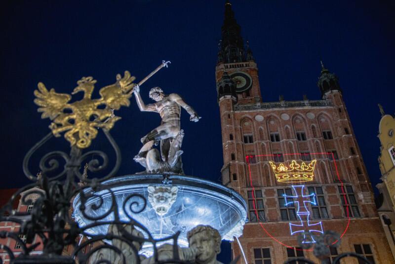 Iluminacje z okazji Święta Miasta w Gdańsku, maj 2020 r.