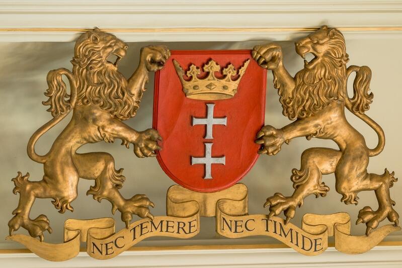 Herb Gdańska w Nowym Ratuszu, siedzibie Rady Miasta Gdańska