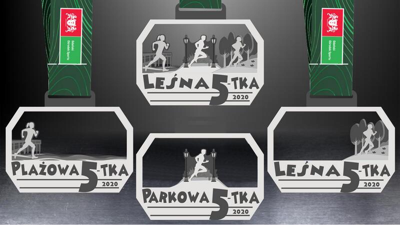 Tak będą wyglądać medale dla uczestników poszczególnych biegów na piątkę