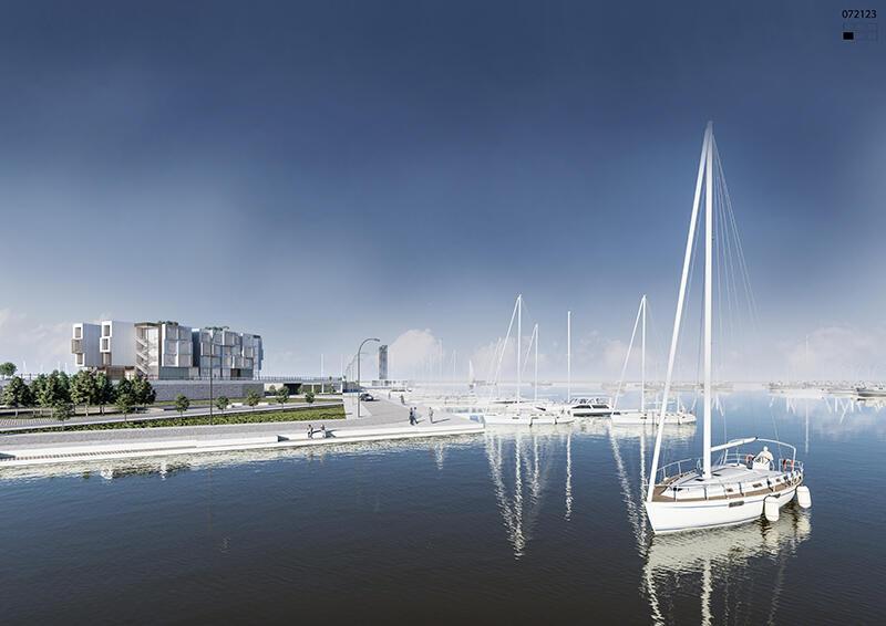 Koncepcja urbanistyczno-architektoniczna Centralnego Portu Jachtowego w Gdańsku Brzeźnie, druga z dwóch przyznanych I nagród