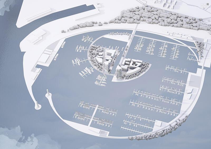 Koncepcja urbanistyczno-architektoniczna Centralnego Portu Jachtowego w Gdańsku Brzeźnie, pierwsza z dwóch przyznanych I nagród
