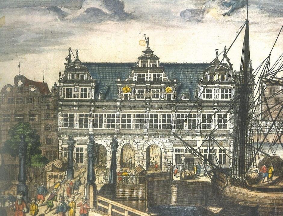 Brama Zielona na rycinie P. Willera, 1687