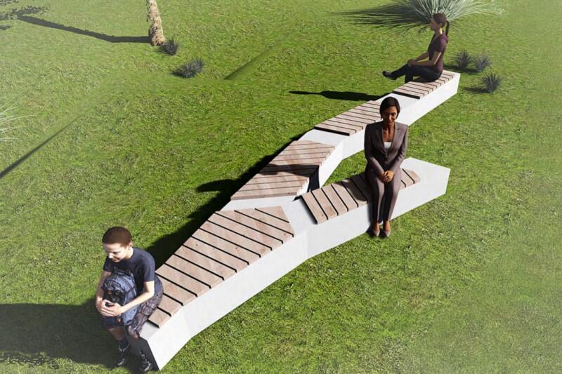 Jedną z propozycji jest projekt oryginalnych ławek, których kształt i wygląd inspirowany jest strukturą kory drzew (autor Anna Bakiera)