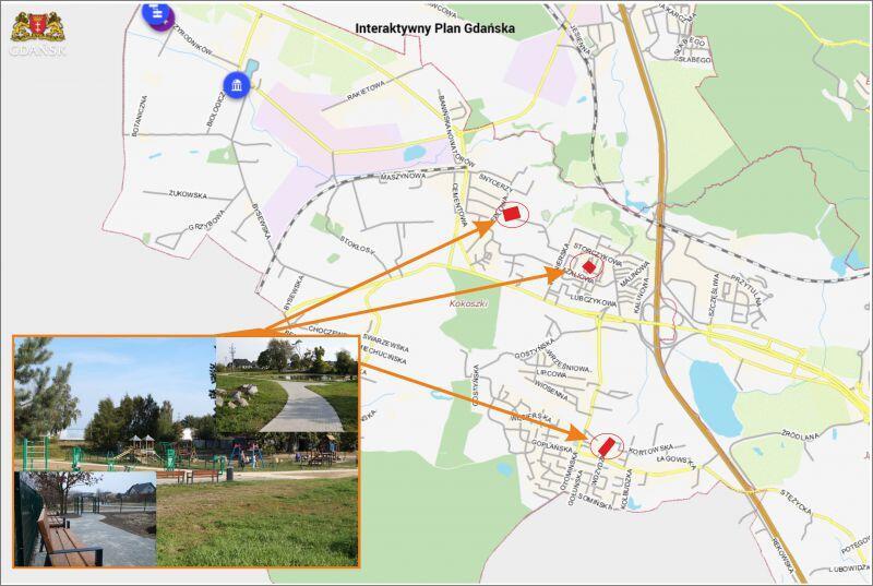 To lokalizacje trzech parków w Kokoszkach, w których zaplanowano w tym roku nowe inwestycje