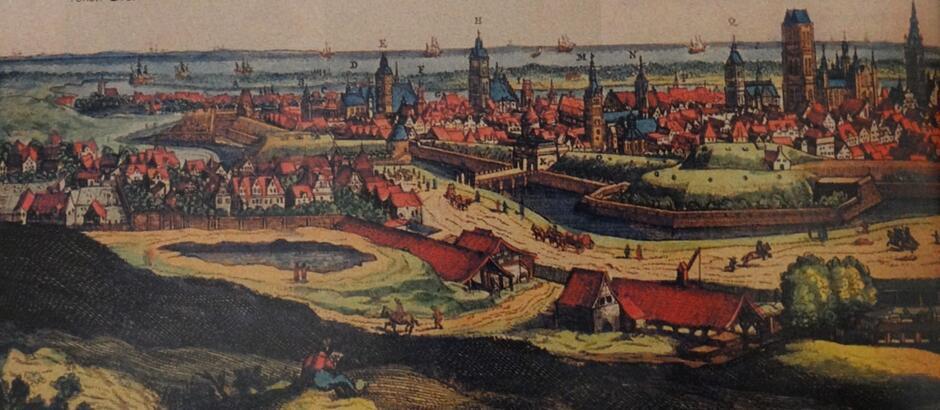"""Panorama Gdańska D. Danckertsa sprzed 1666. Na pierwszym planie, w lewym dolnym rogu – poniżej stoku Biskupiej Górki – staw zwany później """"Czarnym Morzem. Za nim – na lewo – pierwsze budynki opatrzonego tą samą nazwą osiedla. Obok – równolegle do niewidocznego tu kanału Raduni – podłużne szopy służące do suszenia cegieł"""