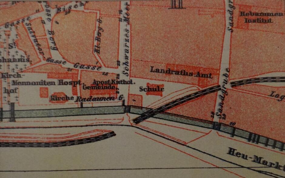 Fragment przedwojennego planu Gdańska z ulicą Schwarzes Meer. Wyraźnie widoczne umiejscowienie kościółka Gminy Apostolsko-Katolickiej