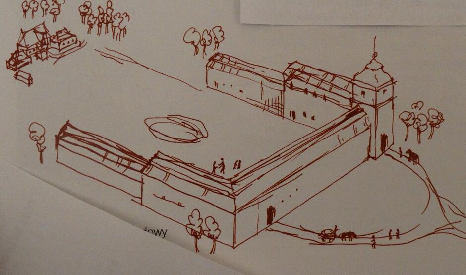 Próba rekonstrukcji zabudowy folwarku opackiego według planu z roku 1792