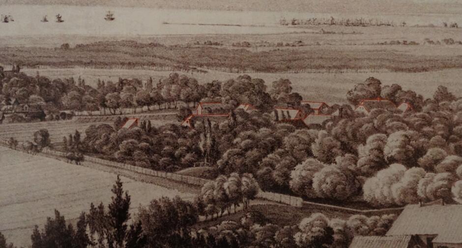 Widok z Pachołka, litografia C. G. Ludwiga (fragment), nietrudno odnaleźć Opacką i posiadłość Salzmannów; wydaje się, że Ludwig niezbyt wiernie odrysował zabudowania dawnego folwarku opackiego (czerwone kontury nałożono komputerowo)