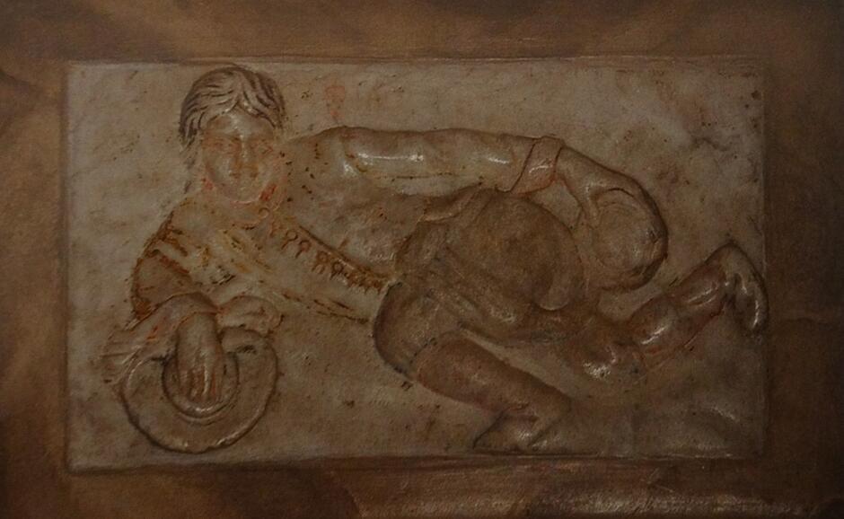 Dyl Sowizdrzał z arturiańskiego 'króla wszystkich pieców' podziwia w zwierciadle swoją 'północną' część
