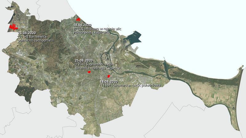 Na mapie zaznaczono cztery lokalizacje, których dotyczą plany zagospodarowania przestrzennego w sierpniu 2020 roku