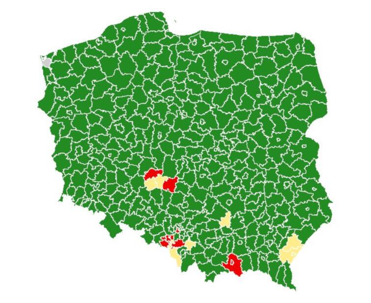 Mapa powiatów, w których od soboty, 8 sierpnia, będą obowiązywać nowe obostrzenia