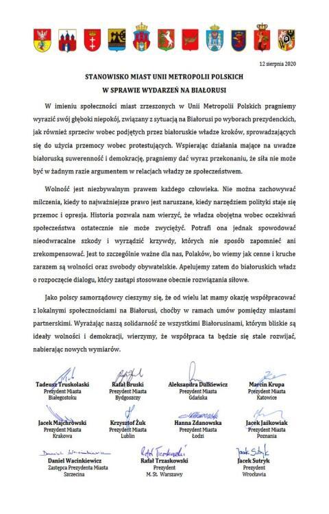 Unia Metropolii Polskich ws. Białorusi
