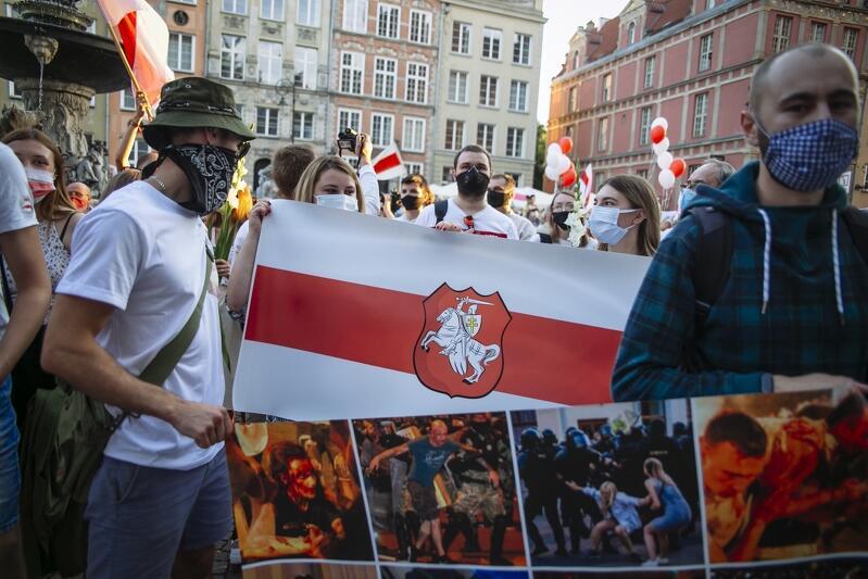 Gdańsk, 14 sierpnia 2020 r. Wiec poparcia dla walczącej Białorusi