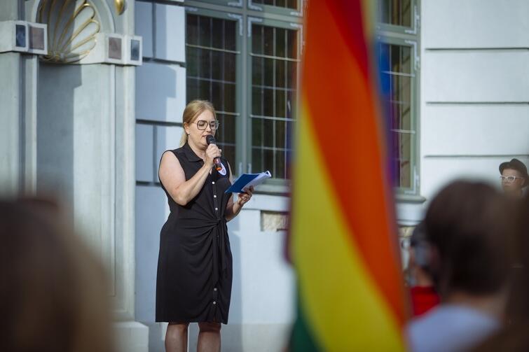 Przemawia europosłanka Magdalena Adamowicz, żona zamordowanego prezydenta Gdańska