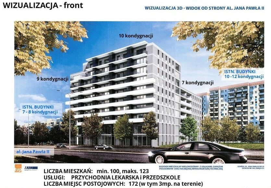 Taki budynek mieszkalny, w ramach tzw. lex deweloper, zaplanowano na Zaspie