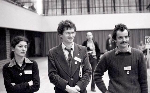 Zjazd NSZZ Solidarność, wrzesień 1981, od lewej: Bożena Rybicka, Aram Rybicki i Maciej Grzywaczewski