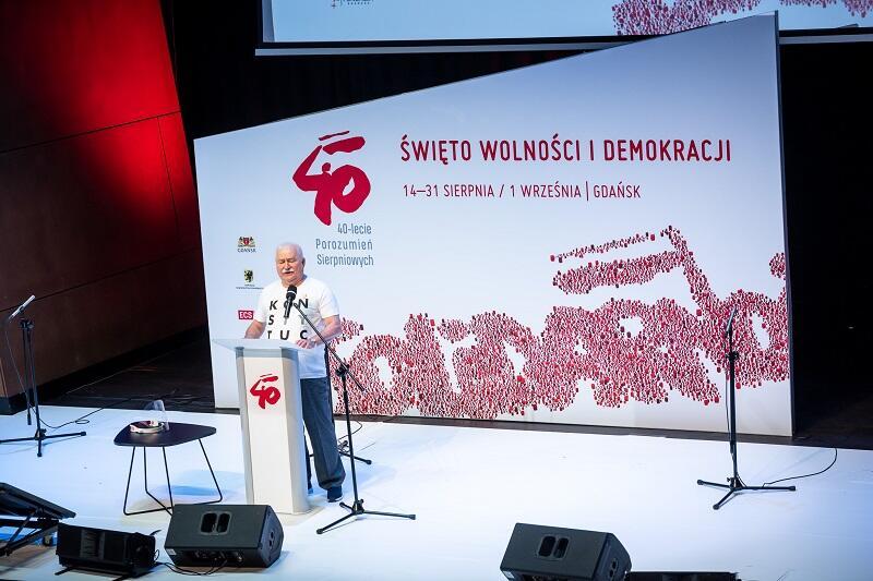 Lech Wałęsa w audytorium ECS, 31 sierpnia 2020 r.