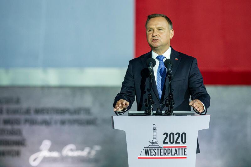 Na Westerplatte przemawia Prezydent Rzeczpospolitej Polskiej Andrzej Duda