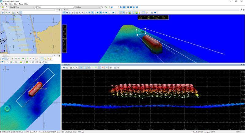 Obraz batymetryczny niebezpiecznego obiektu podwodnego uzyskany na podstawie pomiarów hydrograficznych Urzędu Morskiego w Gdyni w rejonie południowego krańca grobli oddzielającej akwen Wisły Śmiałej i jeziora Ptasi Raj, wykonanych w dniu 25.06.2020 r.
