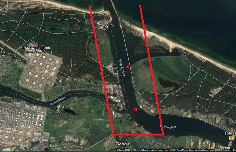 Rejon holowania min. Czerwonymi punktami zaznaczono miejsca na dnie Wisły Śmiałej, gdzie zalegają miny