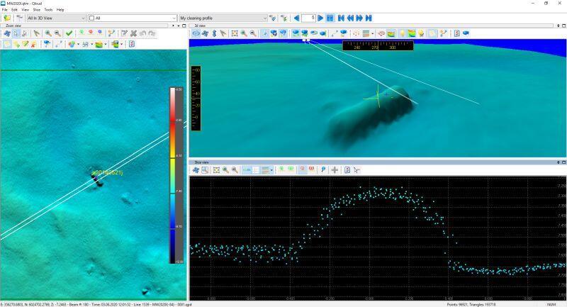 Obraz batymetryczny niebezpiecznego obiektu podwodnego uzyskany na podstawie pomiarów hydrograficznych Urzędu Morskiego w Gdyni w rejonie wejścia na tor wodny na rzece martwa Wisła (Kanał Płonie), wykonanych w dniu 03.06.2020 r.