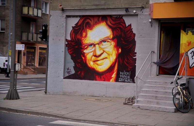 Dzięki panie Zbyszku graffiti autorstwa Tuse dla Zbigniewa Wodeckiego