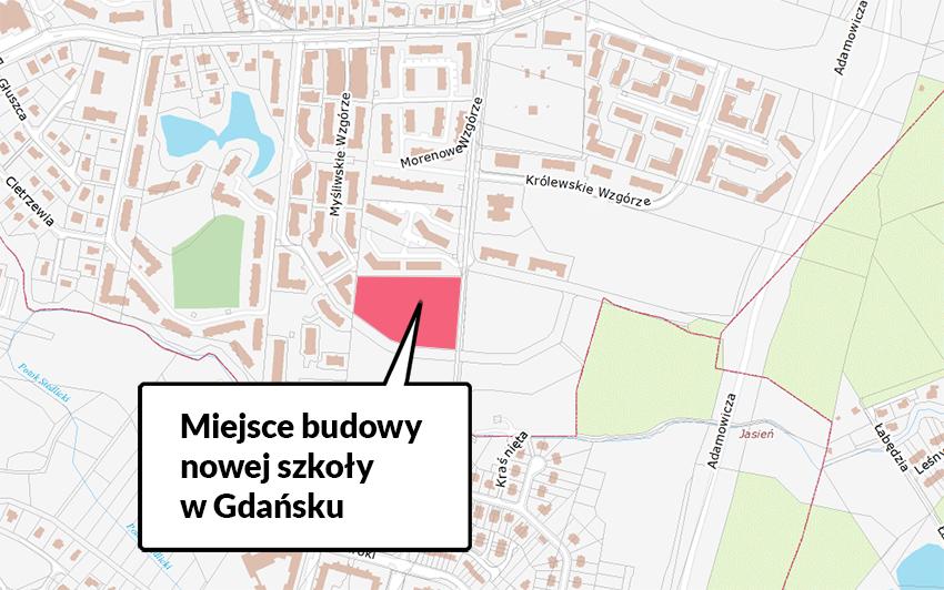 Na mapce zaznaczono teren, na którym zaplanowano budowę nowej szkoły w dzielnicy Piecki-Migowo
