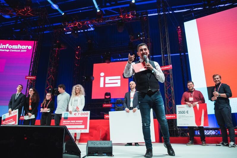 Ceremonia rozdania nagród w Startup Contest Infoshare, 2019 rok. Na zdjęciu scena, z przodu konferansjer z kartką, mówi coś do ludzi siedzących pod sceną, ale ich nie widać. Za nim widać siedem osób z symbolicznymi czekami, uśmiechniętych. To zwycięzcy konkursu