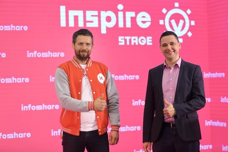 Na zdjęciu Tomasz Pawul wiceprezes zarządu i Grzegorz Borowski prezes zarządu Infoshare na scenie Inspire w studiu konferencji Infoshare 2020. Obaj stoją na czerwonej scenie, za ich plecami na ścianach sceny logo infoshare, obaj pokazują dłońmi gest ok. Pawul w kurtce baseballówce czerwonej z białymi rękawami z logo Infoshare, Borowski w granatowej marynarce