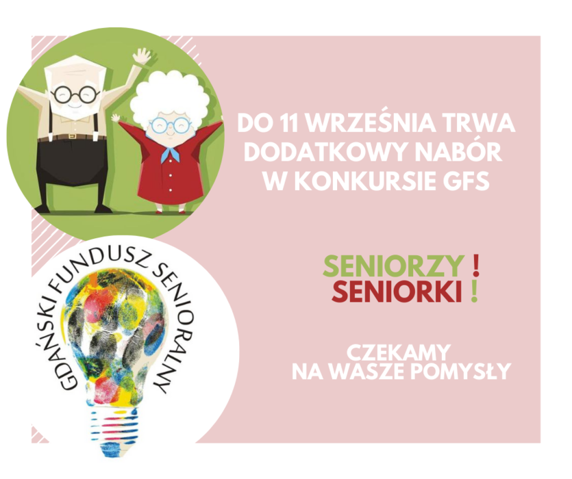 Grafika przedstawiająca rysunkowe postaci osób starszych wraz z logo i informacją przestawioną na różowym tle