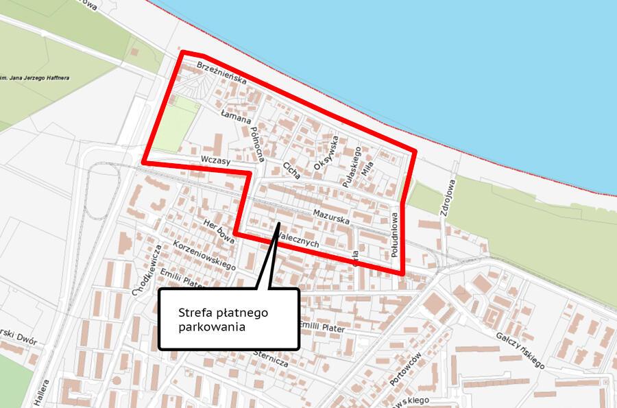 Ten obszar Brzeźna zostałby objęty Strefą Płatnego Parkowania