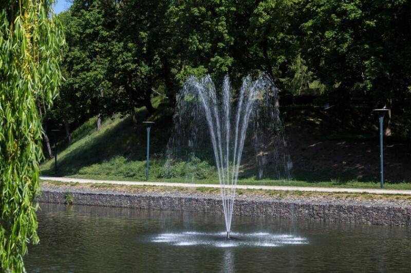 Na zdjęciu widoczna Mokra Fosa czyli zbiornik retencyjny w parku Hevelianum, widoczna woda, w tle zielone drzewa