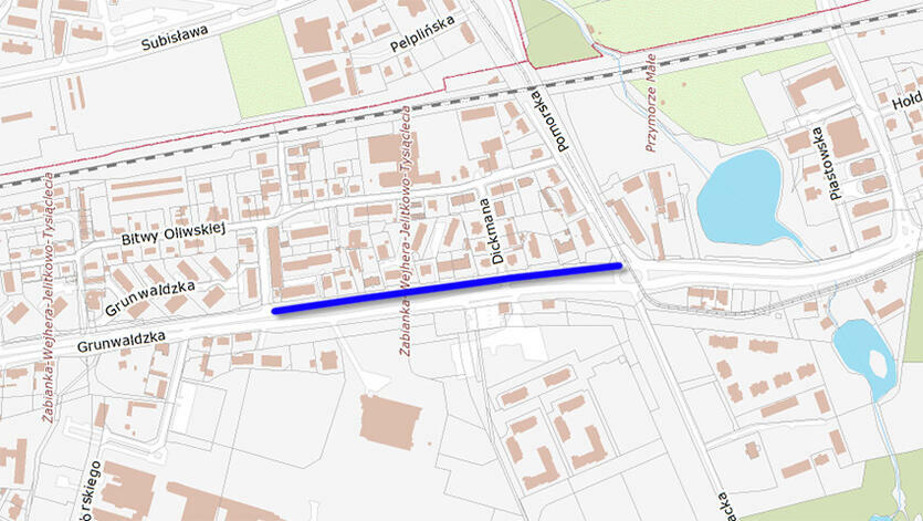 Na mapce zaznaczono odcinek ciągu pieszego, który zostanie przebudowany na potrzeby wprowadzenia tam także ruchu rowerowego