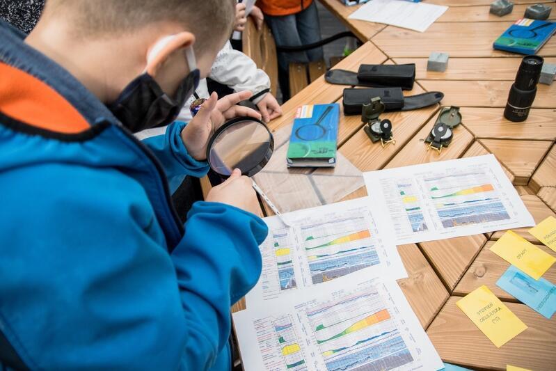 Dzieci uczyły się tego dnia między innymi odczytywania danych meteorologicznych - prognoz dotyczących siły wiatru i opadów deszczu