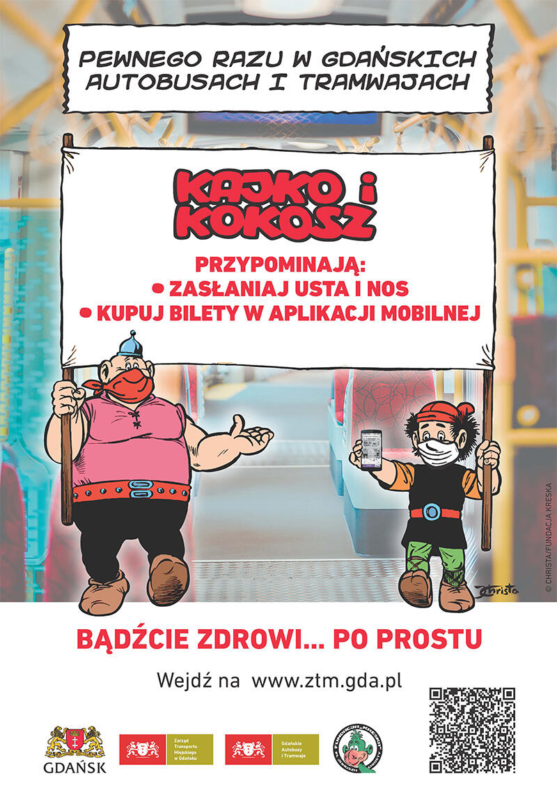 Popularne postacie komiksowe, Kajko i Kokosz, będą przypominać podróżnym o obowiązku zasłaniania ust i nosa