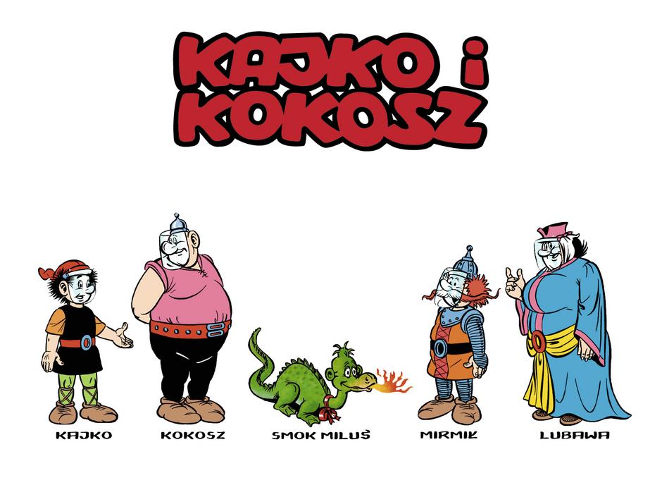 To grafika przedstawiająca drużynę Kajka i Kokosza, która zapowiada przygotowaną przez GAiT kampanię promocyjną