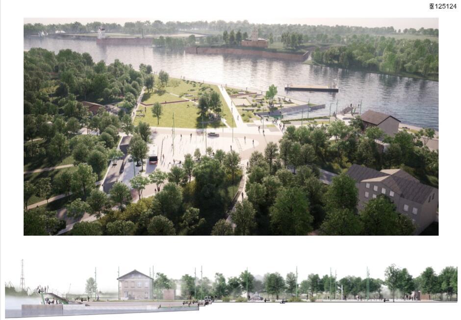 To zwycięska koncepcja urbanistyczno-architektoniczna zagospodarowania placu nadwodnego w Nowym Porcie - powstała w ramach konkursu zorganizowanego przez Biuro Rozwoju Gdańska