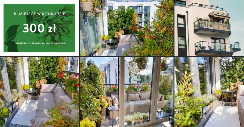 fotomontaż ujęć z ukwieconego balkonu