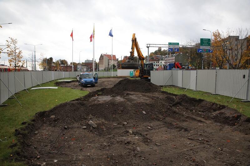 Węzeł Groddecka w Gdańsku - plac budowy pod system ogrodów deszczowych, stan z 29 października 2020 r.