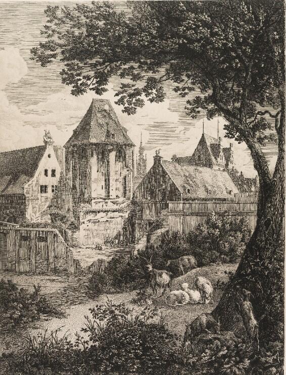 1 lipca 1859 roku w odpowiednio przystosowanym Dworze Miejskim i Baszcie Narożnej znalazła swą siedzibę nowo powołana zawodowa strażarna; rycina J. C. Schultza z lat 50. XIX wieku