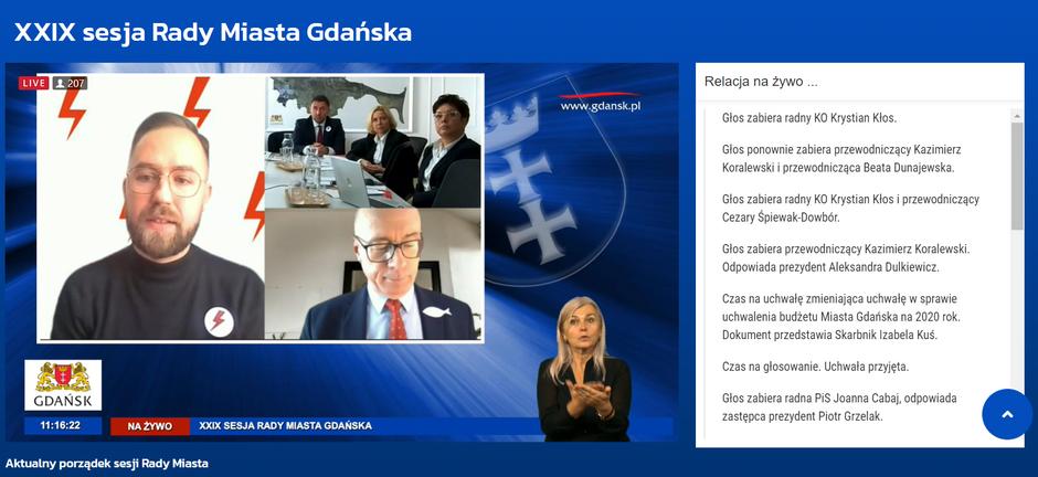 Październikowa sesja odbyła się, podobnie jak poprzednie, zdalnie - za pomocą aplikacji Teams i e-sesja. Była transmitowana na żywo na portalu gdansk.pl