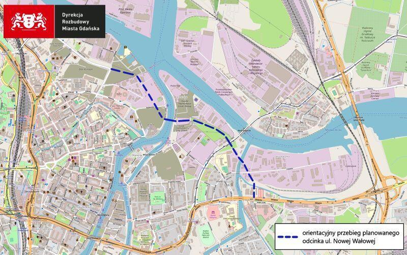 Mapa przedstawia Dolne Miasto oraz Główne Miasto. Granatowa, przerywaną linią zaznaczono proponowanyoreintacyjny przebieg ul. Nowej Wałowej