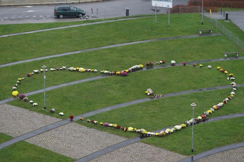 Serce z kwiatów na Placu Solidarności